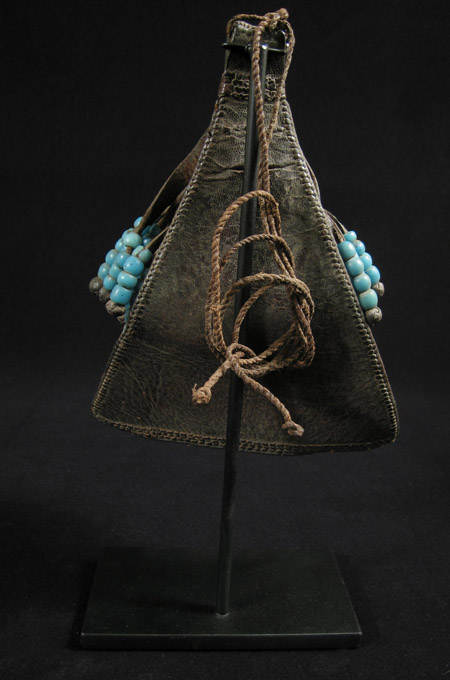 African Tribal Art - Leather and bead cache-sex, Kirdi, Cameroon, back