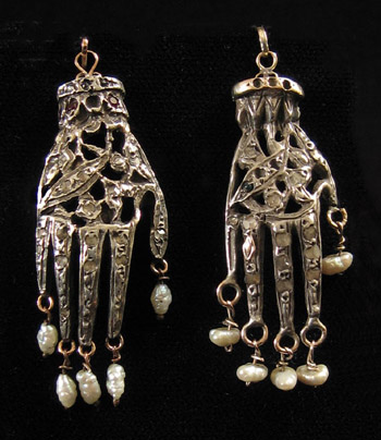 North African Jewelry - Unusual silver khamsa, Tunis, Tunisia