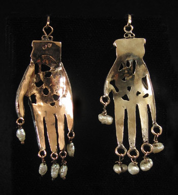 North African Jewelry - Unusual silver khamsa, Tunis, Tunisia, back