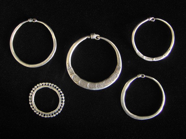 African Tribal Art - Silver loop earrings, North Africa