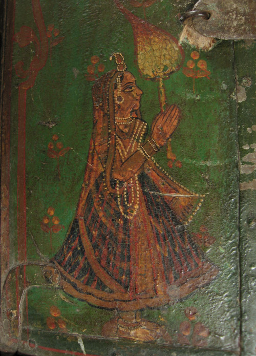 Asian Tribal Art - Painted wood shutter, India, offering