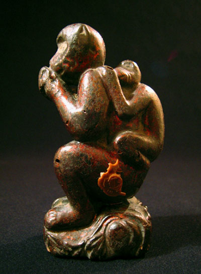 Asian Tribal Art - Wood monkey, China