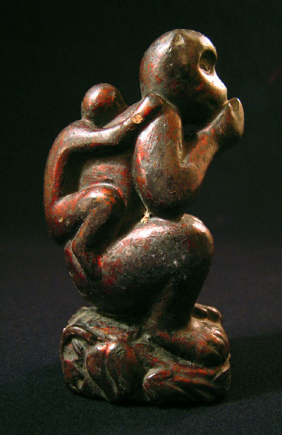Asian Tribal Art - Wood monkey, China, side view