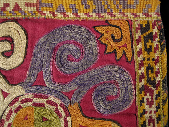 Asian Tribal Art - Embroidered bag, Uzbek, Central Asia, detail