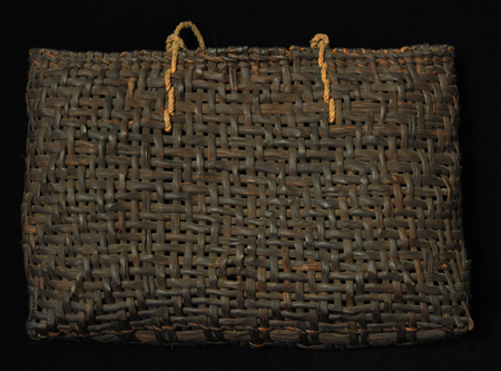 Woven mulberry bark basket, Japan - back view