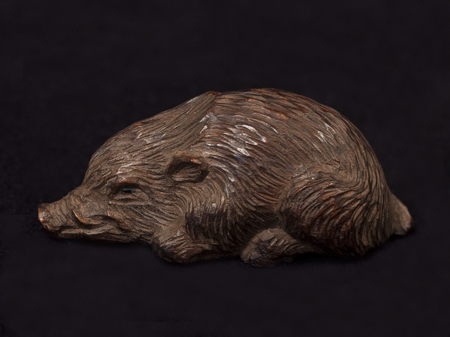 Asian Tribal Art - Boar netsuke, Japan, right side view