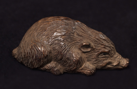 Asian Tribal Art - Boar netsuke, Japan, left side view