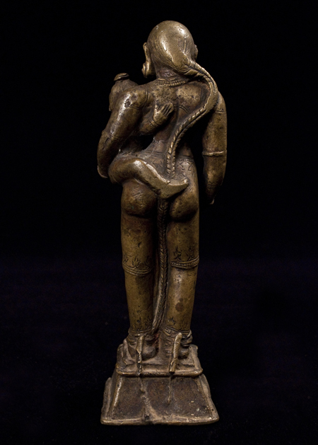 Parvati and Child bronze figure, India, back view
