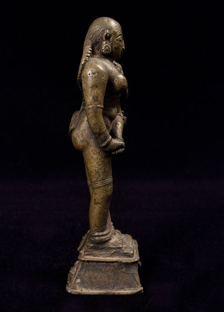 Parvati and Child bronze figure, India, left side