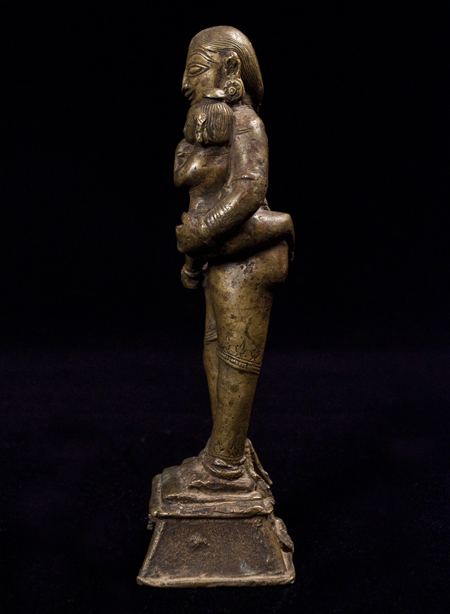 Parvati and Child bronze figure, India, right side
