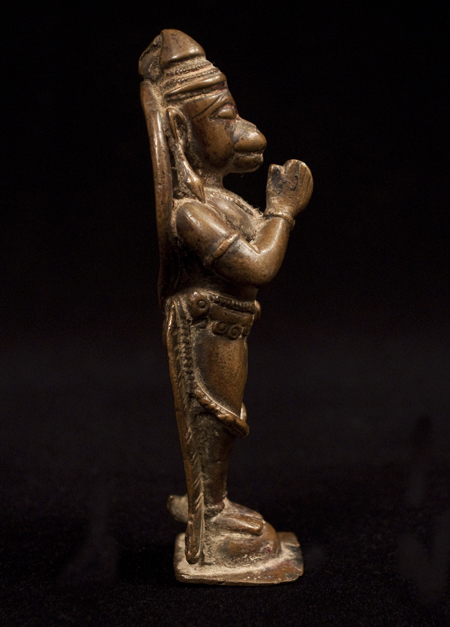 Hanuman Bronze Figure, India, left side