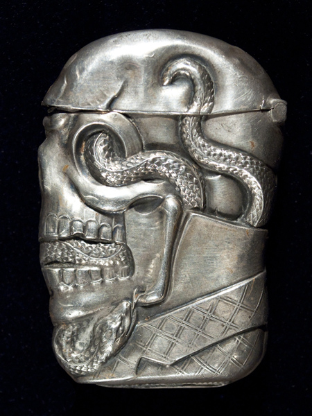 Skull and serpent sterling match safe, reverse