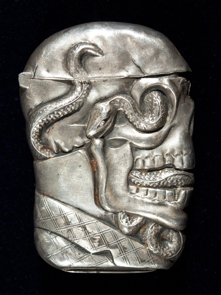 Skull and serpent sterling match safe