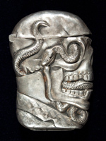 Skull and serpent match safe, USA