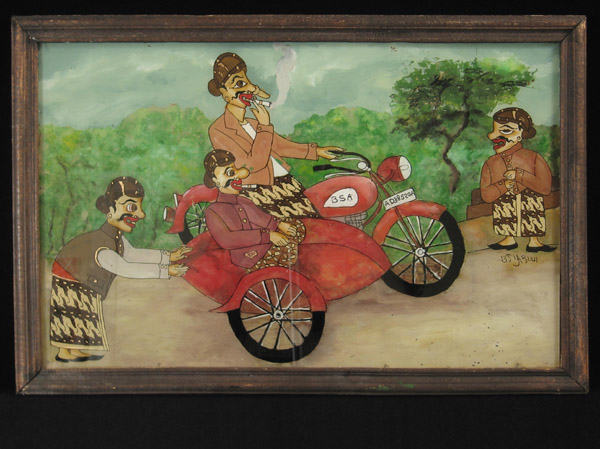 Indonesian Tribal Art - Painting on glass, Java, Indonesia