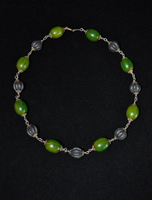 Amber and green bead necklace