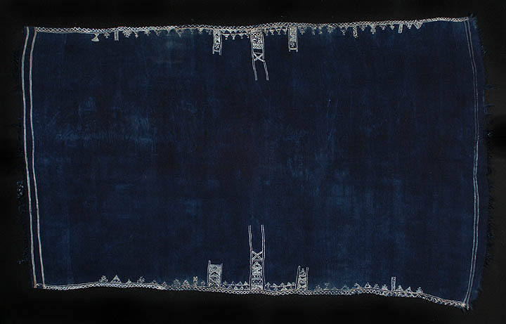 Indigo baknough woolen shawl, Tunisia or Libya