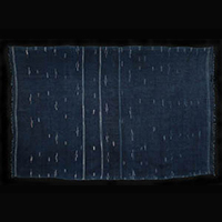 Tunisian textiles - Indigo baknough wool/cotton shawl, Libya